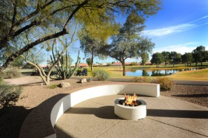 Golf course home with fire pit in Sun Lakes Oakwood