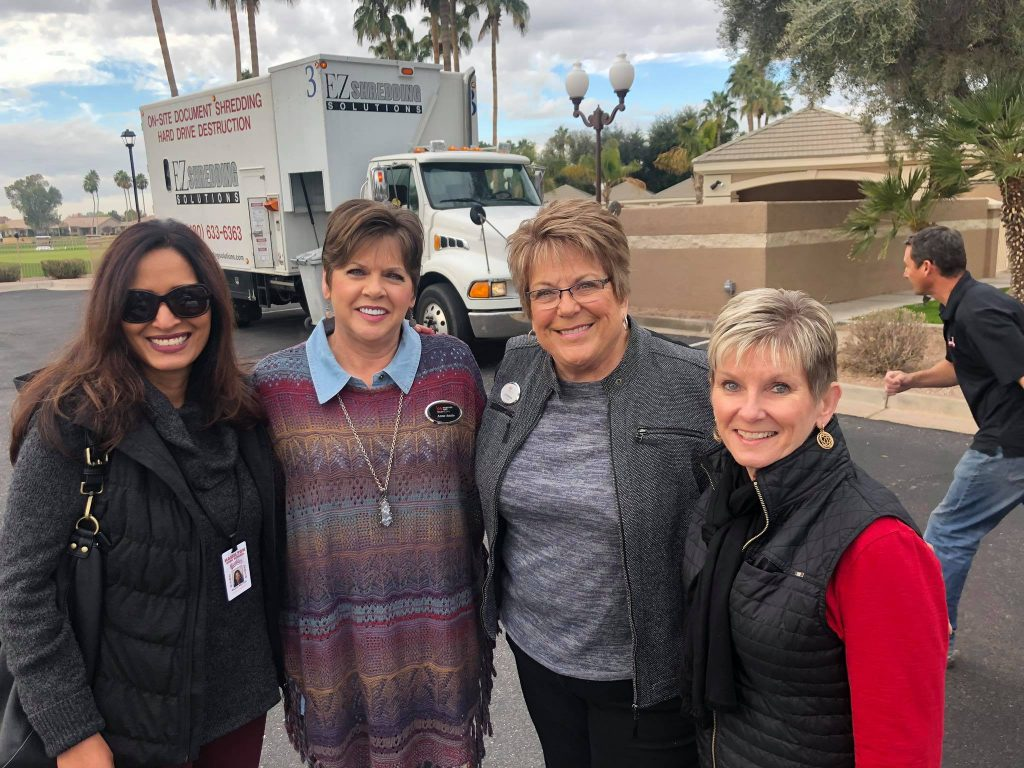 Left-to-Right: Rajani Rastogi (Social Worker for Hamilton High Homeless Fund), Anne Annis (Licensed Assistant, The Kolb Team, Lynette Messick (REALTOR® and Transaction Manager, The Kolb Team), and Becky Kolb (REALTOR®, The Kolb Team)